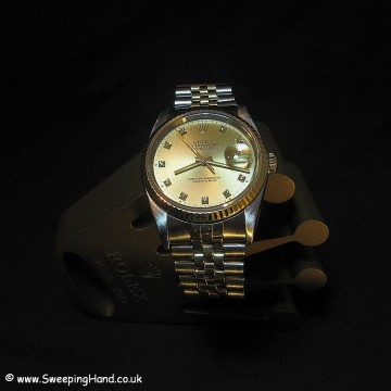 Rolex Bi-Metal Gold Datejust with Original Diamond Dial - Full Box & Punched Papers