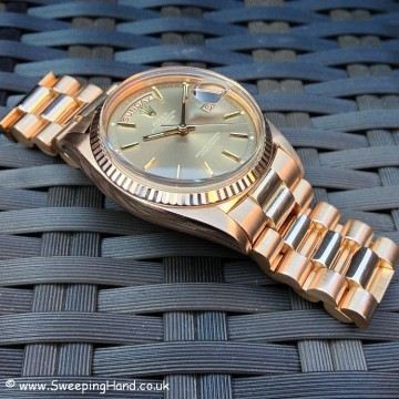 Incredibly Rare Rose Gold Sigma Pie Pan Dial 1973 Rolex DayDate 1803 Collector Set
