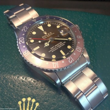 Superb Tropical Brown Rolex 1675 GMT Master Gilt Dial Collector Set