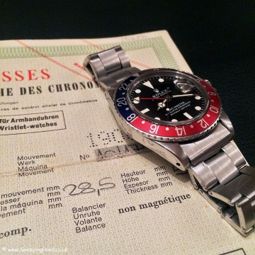 Superb 1968 Mk1 Rolex 1675 GMT Master Matte Dial – Box & Punched Papers