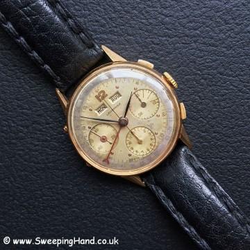 Rare Leonidas Pre-Heuer Triple Date 18k Gold Chronograph