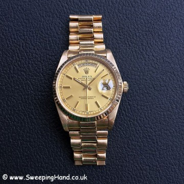 Solid 18k Gold Gents Rolex Day Date 18038 President with Warranty