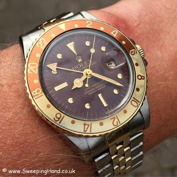 Rolex 1675 GMT Rootbeer Nipple wristshot