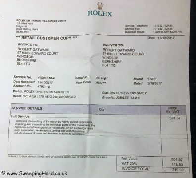 Rolex receipt pixelised