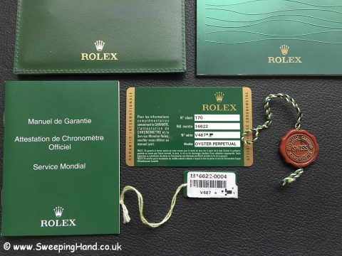 Rolex Yachtmaster 16622 Platinum Box and Guarantee