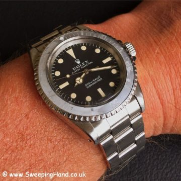 1968 Rolex 5513 Metres First Submariner wristshot
