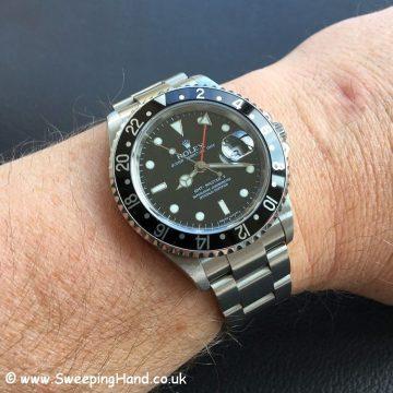 Rolex 16710 GMT Master Stick Dial Wristshot